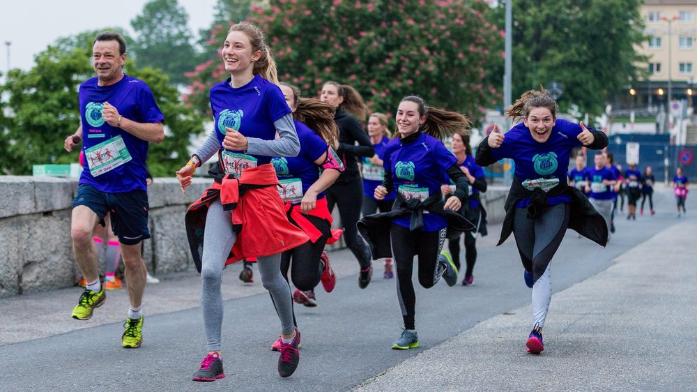 A la fin de la course, à la place du Port de Neuchâtel, les participants du Wake up and run avaient le sourire!