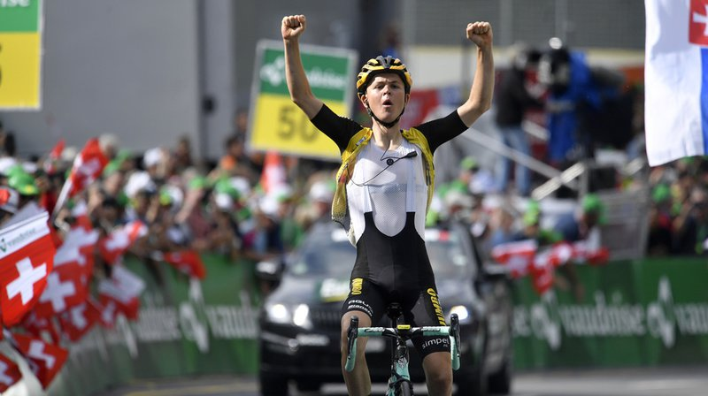 Antwan Tolhoeck from the Netherlands of team Jumbo-Visma wins the sixth stage, a 120.2 km race from Einsiedeln to Flumserberg, Switzerland, at the 83rd Tour de Suisse UCI ProTour cycling race, on Thursday, June 20, 2019. (KEYSTONE/Gian Ehrenzeller)